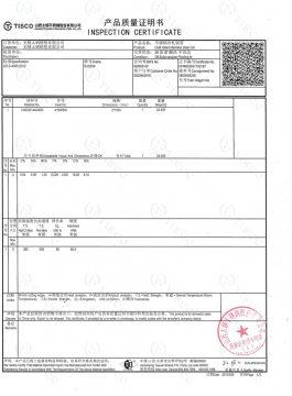 Certificado de inspeção 304SS