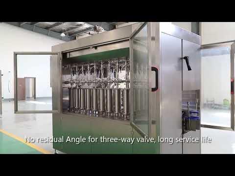 linha automática da máquina de etiquetas tampando de enchimento líquido de óleo de garrafa de vidro para animais de estimação